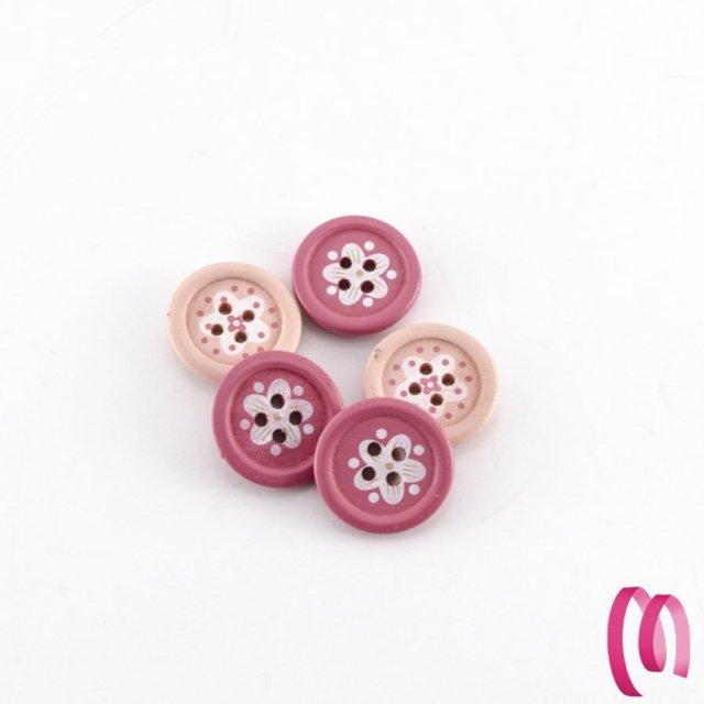 Bottone in legno piccolo sfumato Rosa