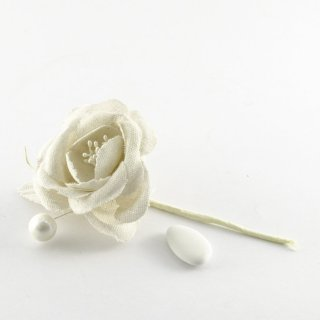 Rosa in tela country bianca 12 pezzi