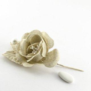 Rosa in tela country naturale 12 pezzi