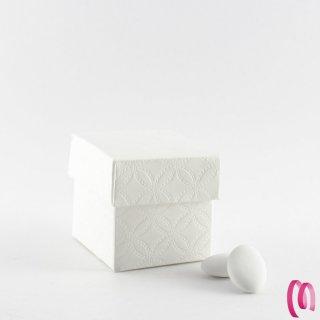 Scatolina cubo fondo coperchio  trama fiore 10 pezzi