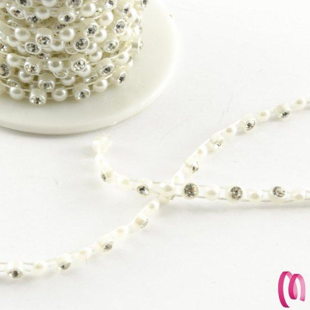 Filo di strass con perla  1 metro