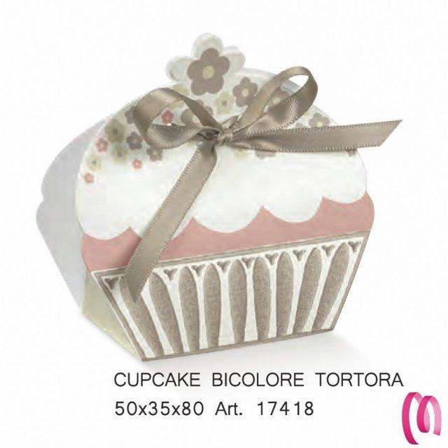 Portaconfetti cup cake tortora 10 pezzi