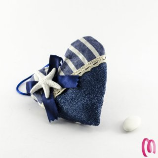 Cuscino portaconfetti cuore con stella marina  6 pezzi