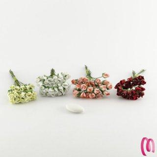 Fiore bocciolo piccolo in tessuto 72 pezzi