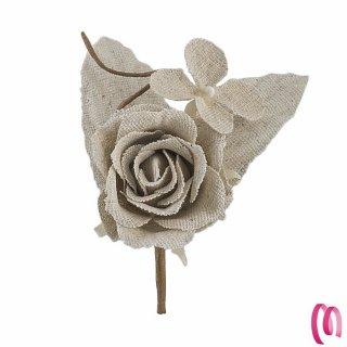 Fiore rosa e foglie in cotone grezzo 12 pezzi