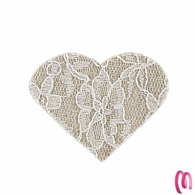 Applicazione decorativa cuore pizzo 24 pezzi