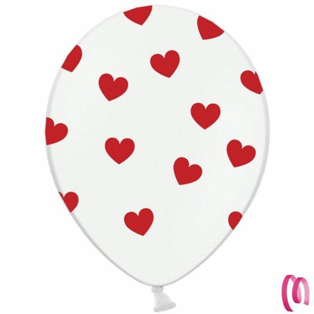 Palloncini bianchi con cuori rossi 10 pezzi