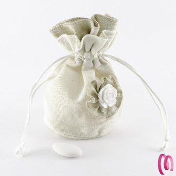Busta trama fiore avorio 10 pezzi