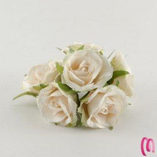 Rosa in tessuto grande Crema 10 pz