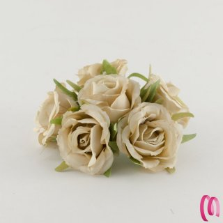 Rosa in tessuto grande Ecrù 10 pz