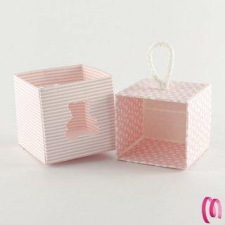 Bomboniera scatolina con orso traforato rosa