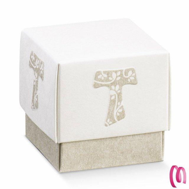 Bauletto pergamena in tela rigida portaconfetti  con decorazione cuore confezione da 12 pezzi