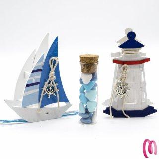 Bomboniera Provetta vetro Con faro e Barca in Legno