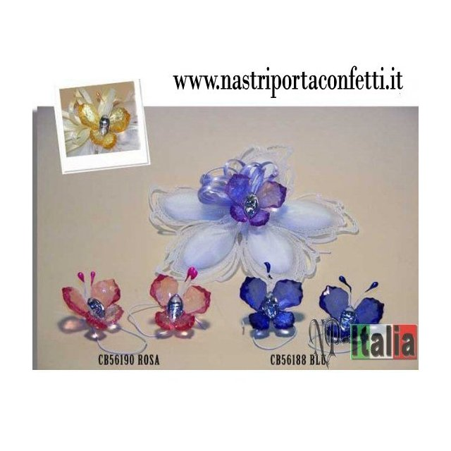 Decorazioni farfalle in acrilico con strass 12 pezzi