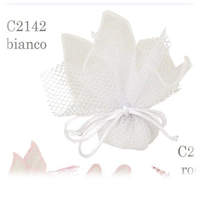 Cuscino portaconfetti a cuore con decorazione fiori su organza confezione da 6 pezzi