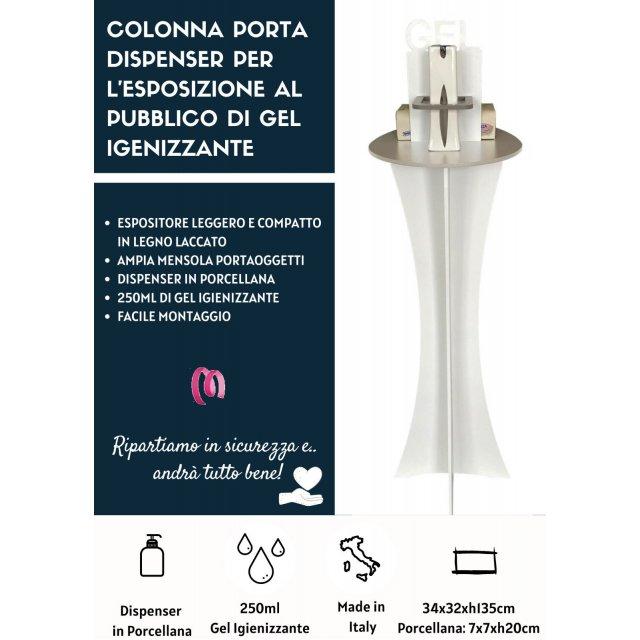 Colonna Porta Dispenser con Dispenser in Porcellana piu Gel da 250ml
