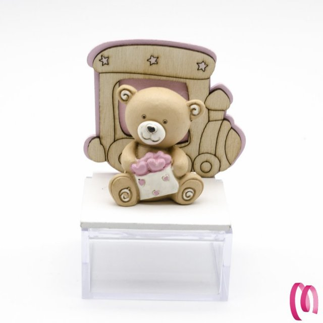 Bomboniera orsetto e trenino con scatolina rosa