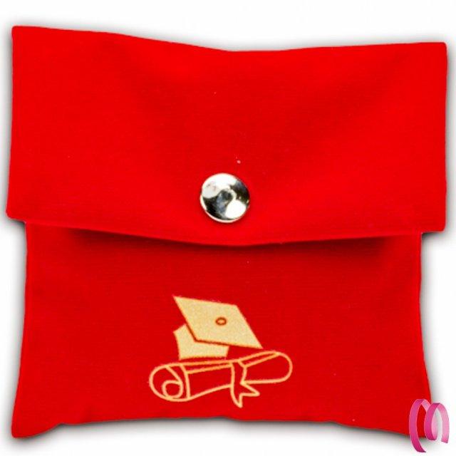 Bustina in velluto rosso porta confetto per Laurea