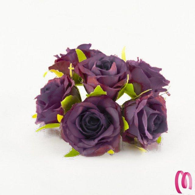 Rosa in tessuto grande Prugna 10 pz