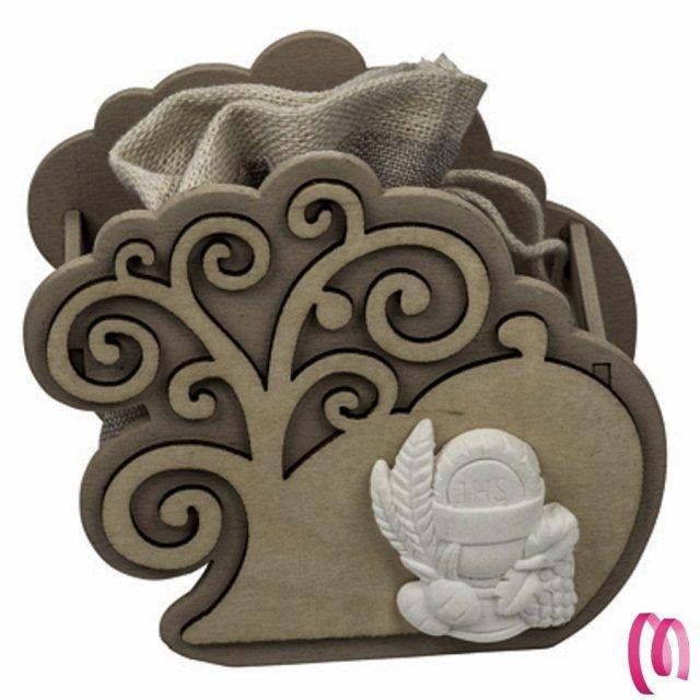 Bomboniera Porta confetti Comunione in legno con albero della vita e Gessetto calice